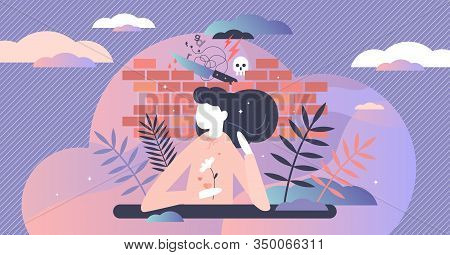 Repression Concept, Flat Tiny Person Vector Illustration. Female Behind The Wall Shielding From Viol