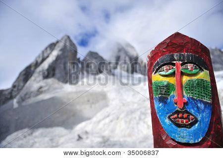 Yu Long Xue Shan Mountain and tribal statue poster