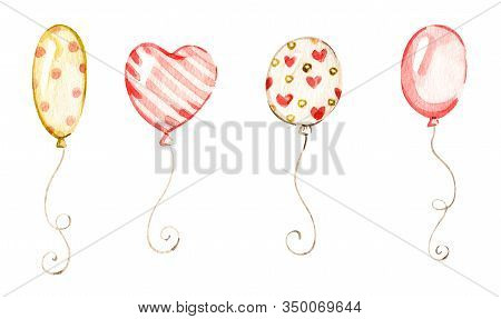 Balloons In Watercolor Style On White Background. Birthday Nursery Anniversary Set. Watercolour Art