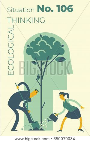 Ecological Illustration. Earth Day. Men And Women Are Calling To Save Planet. Ecological Thinking. G