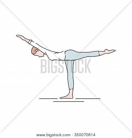 Warrior I Pose Virabhadrasana I Color Line Icon. Concept Of Creating Stillness By Balancing Simultan