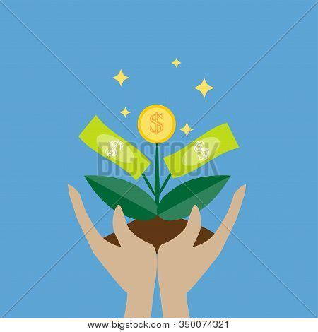Money Tree In Hands Vector Icon On Blue Background. Money Growing On Tree Concept For Money Growth,