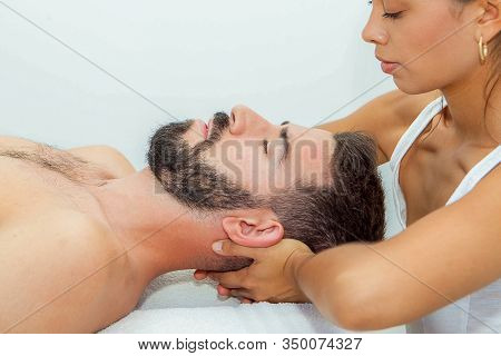 head and shoulder massage in a spa or clinic
