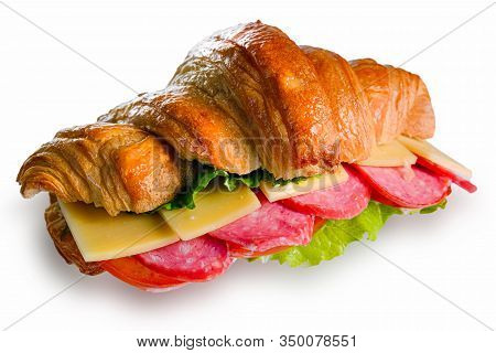 Croissant With Ham And Cheese Isolated On A White Background