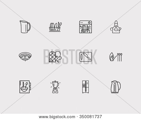 Kitchenware Icons Set. Cutting Board And Kitchenware Icons With Drainer, Matches And Water Jug. Set