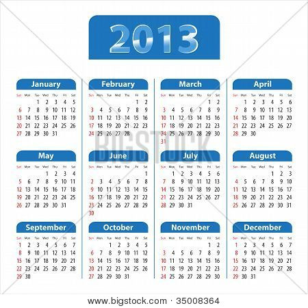 Blue Glossy Calendar For 2013