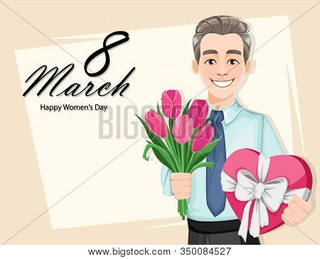 Man With A Bouquet Of Tulips And A Gift Box