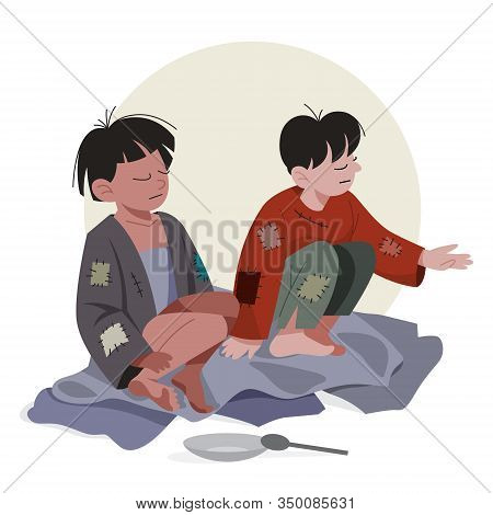 Two Poor Kids. Sad Children In Dirty And Dud Clothes Asking For Help.