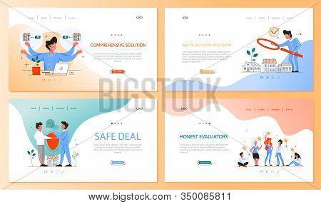 Real Estate Advantage Web Banner Set. Idea Of House For Sale