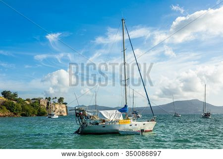 Yachts Anchored In Fort De France Harbor With Fortress In The Background, Fort-de-france, Martinique