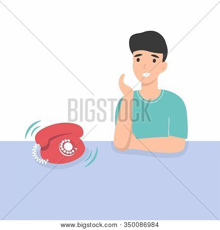 Happy Guy Receive An Incoming Call. Flat Vector Cartoon Illustration.