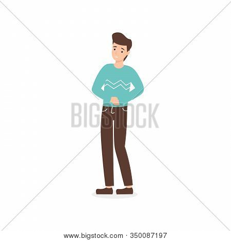 Urinary Tract Infections Or Cystitis. Flat Vector Cartoon Man Character Isolated White Background.
