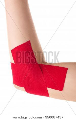 Cropped View Of Female Cubit With Kinesiology Tapes Isolated On White