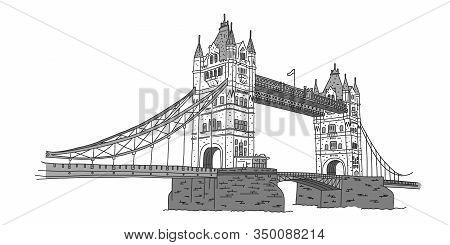 London Bridge, Support Towers In Middle Bridge. London Landmark Tower Bridge. Combined Drawbridge An