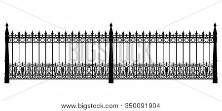 Black Forged Fence Isolated On White Background
