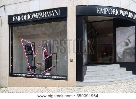 Lisbon, Portugal - June 6, 2018: Emporio Armani Fashion Shop At Avenida Da Liberdade In Lisbon. This