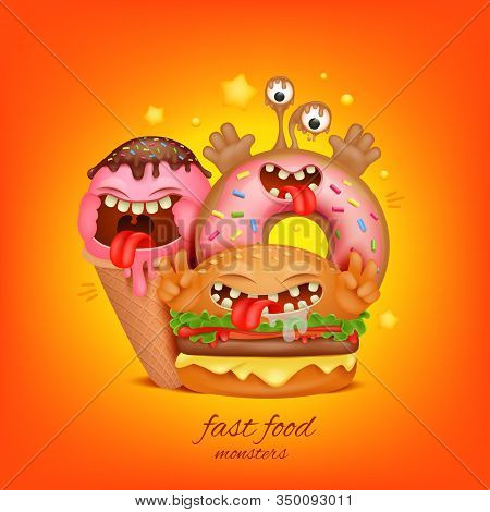 Fast Food Menu Concept. Burger, Ice Cream, Donut Cartoon Monster Characters. Vector Illustration