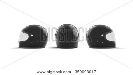 Blank White Moto Helmet Mock Up, Front And Side View, 3d Rendering. Empty Motorcycle Accident Protec