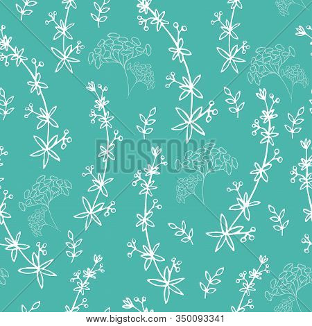 Seamless Spring Handdraw Background With Herbs. Endless Blue Botanical Texture. Line Art Style