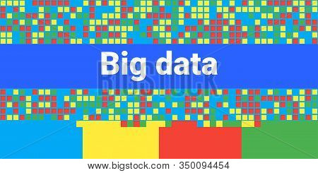 Big Data Visualization. Vector Abstract Background. Concept Of Composition, Clustering, Analysis, Sy