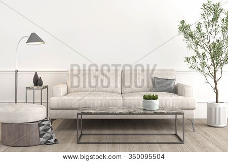 Interior Design Setup Of Modern And Elegant Living-room Consisting Of Leather Couch And Puff, Coffe