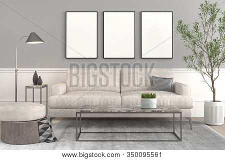 Interior Design Setup, Modern Elegant Living-room With Leather Couch And Puff, Coffe Table, Lamp, Pl
