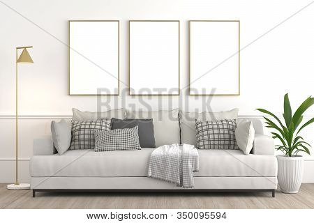 Interior Design Setup, Modern Elegant Living-room Consisting Of White Couch With Various Pillows And