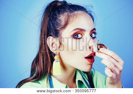 Skincare Repairing. Healing Mucus. Having Fun With Adorable Snail. Cosmetics And Snail Mucus. Girl F
