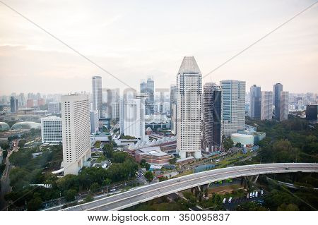 Singapore, March 2017 - Landscape Of Singapore City From Top Of Singapore Flyer. Central Financial D