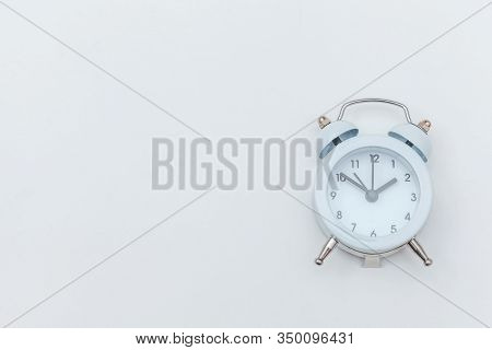 Simply Flat Lay Design Ringing Twin Bell Vintage Classic Alarm Clock Isolated On White Background. R