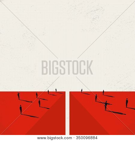 Divided Society Vector Concept With Crowds On Opposite Sides Of Abyss. Split In Opinions And Lifesty
