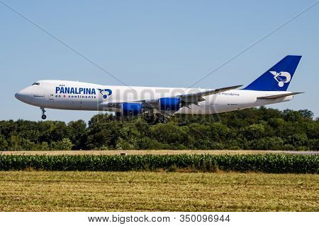 Findel - Luxembourg / July 8, 2018: Panalpina Boeing 747-8 Jumbo Jet N850gt Cargo Plane Arrival And