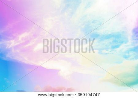 Sky Pastel, Sun And Cloud Background With A Pastel Colored, Pastel Of Sky And Soft Cloud Abstract Ba