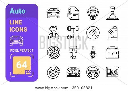 Auto Line Icons Set Vector Illustration. Collection Consists Of Oil, Filter, Steering Wheel, Check L