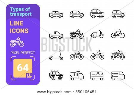 Types Of Transport Line Icons Set Vector Illustration. Scooter And Motor Bicycle Speed Bike And Chop