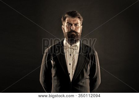 Classic Never Out Of Trend. Menswear Classic Outfit. Bearded Man With Bow Tie. Well Dressed And Scru