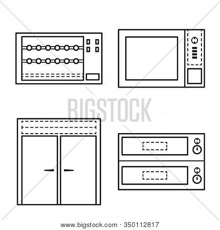 Vector Illustration Of Household And Industrial Sign. Collection Of Household And Equipment Stock Sy