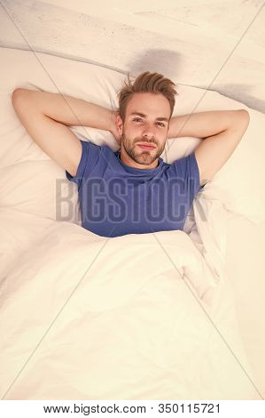Being Carried Away By Dreaming. Single Man Dreaming In Bed Alone. Handsome Guy Dreaming After Waking
