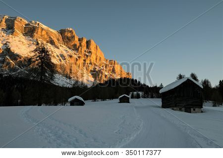 Magic Light - Sunset In The Dolomites-  Aramentara Meadows And Sas Dla Crusc- Winter Landscape