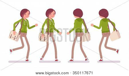 Young Woman Wearing A Hoodie Jacket Walking And Running. Cute Lady In A Casual Hoody, Youth City Fas