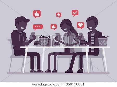 Gadget Addiction, Friends At Dinner Dependent On Smartphones. Group Of People Having Lunch Glued To