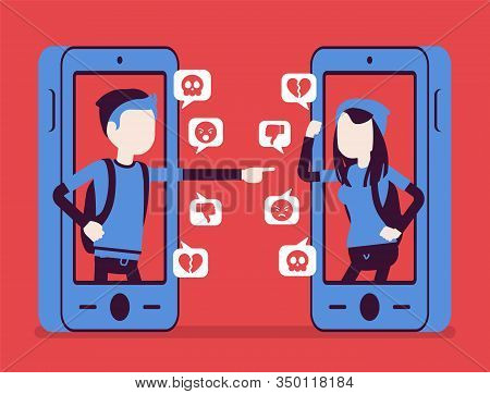 Cyberbullying, Teenagers Smartphone Bullying, Harmful Gadget Harassment. Hating, Drama, Gossip Or Tr