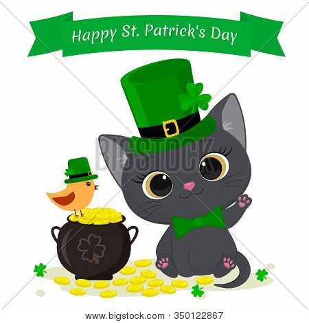 St.patrick S Day Greeting Card. Cute Gray Kitten In A Green Hat Leprechaun, Bowler Hat With Gold Coi