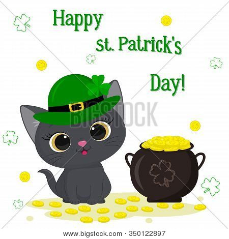 St. Patrick S Day Greeting Card. Cute Gray Kitten In A Green Leprechaun Hat Sitting, Bowler Hat With