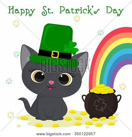 Postcard To The Day Of St. Patrick. Cute Gray Kitten In A Green Hat Of Leprechaun Sitting, Bowler Wi