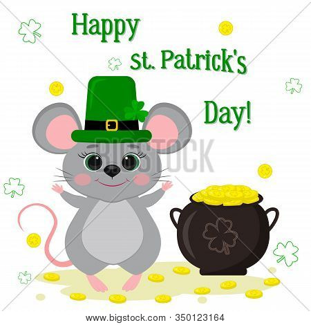 Postcard To The Day Of St. Patrick. A Cute Gray Mouse In A Green Hat, A Dwarf Stands And Raised His