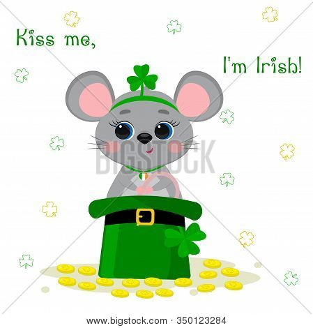 Postcard To The Day Of St. Patrick. Cute Gray Mouse In A Rim With Clover And Medallions, Sitting In
