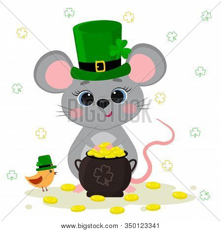 Postcard To The Day Of St. Patrick. Cute Gray Mouse In A Green Hat A Dwarf Holds A Bowler Hat With G