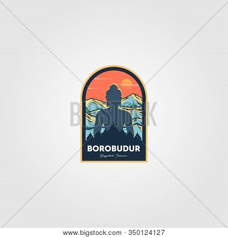 The Magnificent Borobudur Temple Logo Vector Wonderful Indonesia Illustration