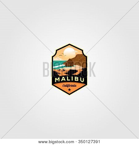 Malibu California Beach Logo Vector Illustration Design